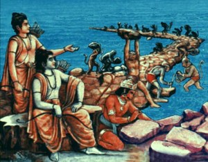 Lord Ram overseeing the construction of Ram Setu