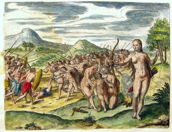 "A fanciful depiction of the ""women warriors of the Monomotapa"" from Johann Theodore de Bry and Johann Israel de Bry's India Orientalis, c 1599"
