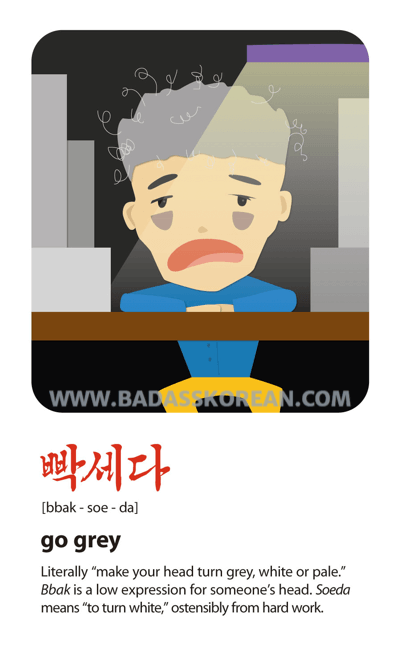 Sex Sells 빡세다 [bbak-soe-da] go grey (from hard work); get the life sucked from you
