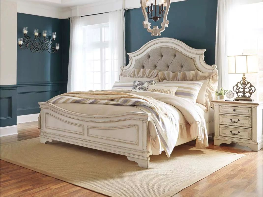 signature design by ashley california king upholstered panel bed in chipped white b743b7