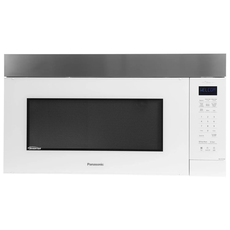 panasonic 30 inch 2 cu ft genius prestige plus over the range microwave in white stainless steel nnst27hw