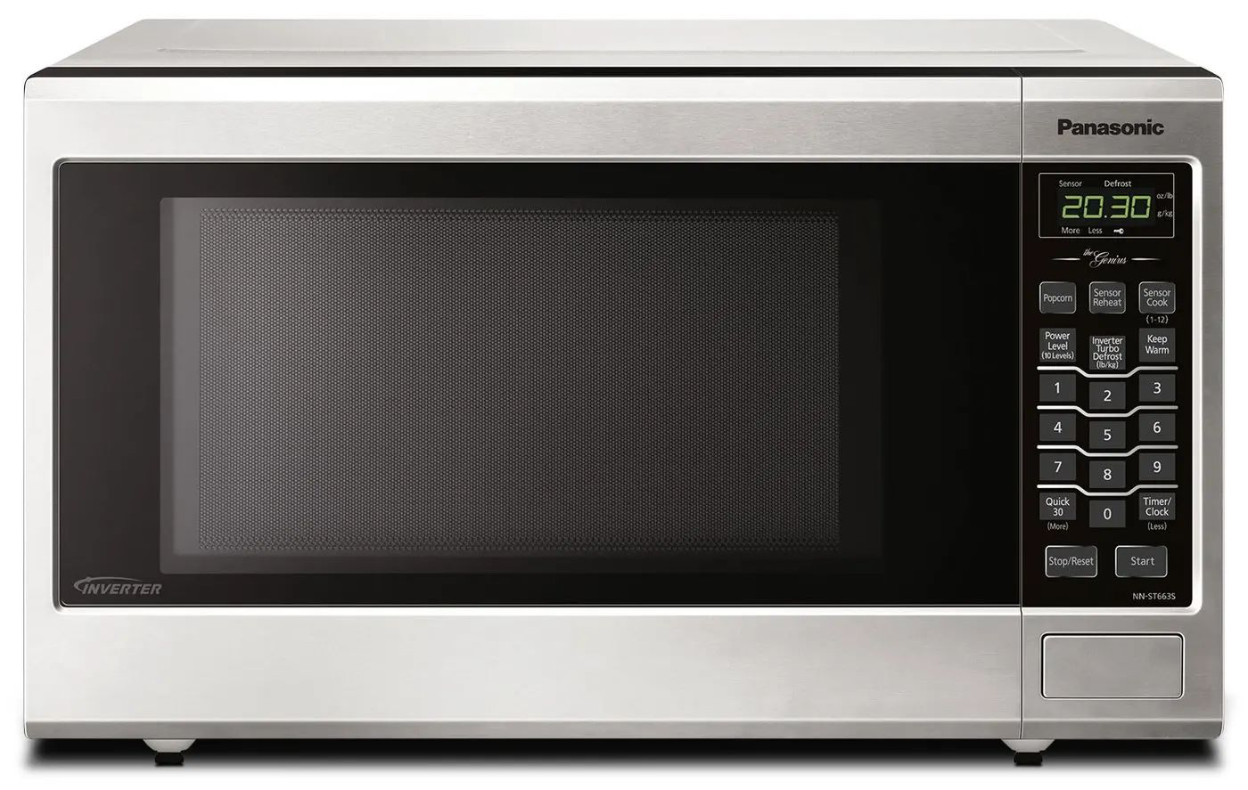 panasonic 20 inch 1 2 cu ft countertop microwave oven in stainless steel nnst663sc