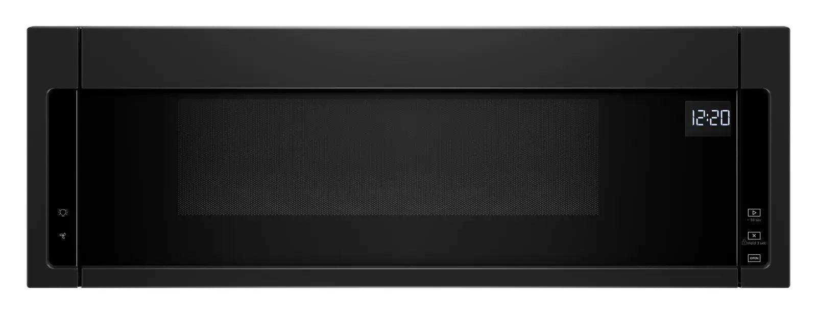 whirlpool 30 inch 1 1 cu ft low profile microwave hood combination in black ywml55011hb