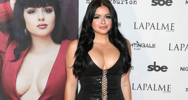 Outside LaPalme Magazine fall cover party at Nightingale Plaza, Ariel Winter has been spotted in a tight black dress. with huge cleavage.