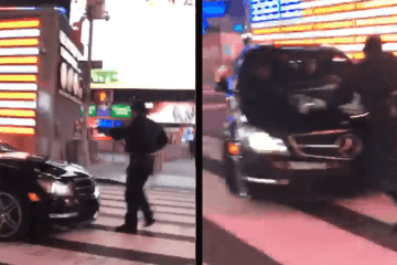 Mercedes AMG Attempts to Run Over Cop in Times Square 1