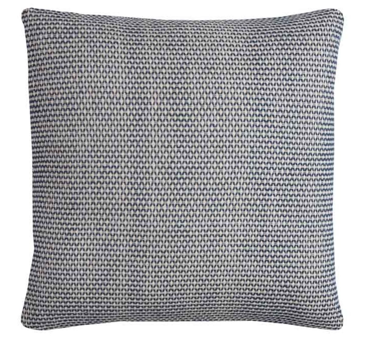 blue white accent pillow