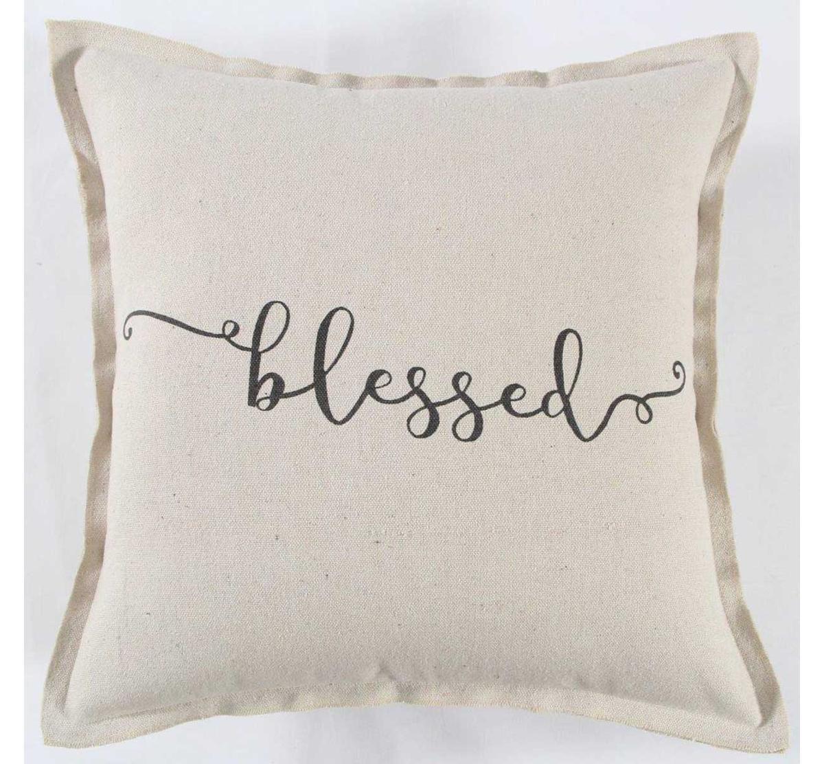 black cream blessed throw pillow
