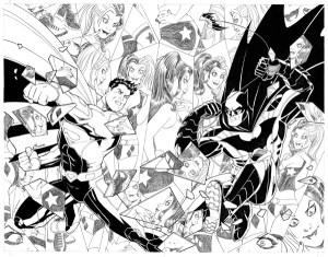 Superman #50/Batman #50, copertina connecting variant b/n di Amanda Conner