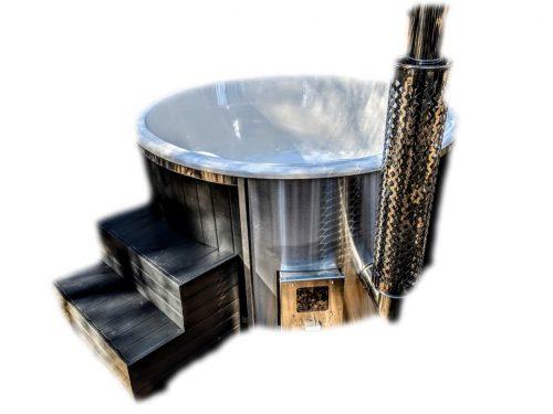 Badestamp i glassfiber med integrert ovn termo tre, sibirsk eik Wellness Scandinavia (46)