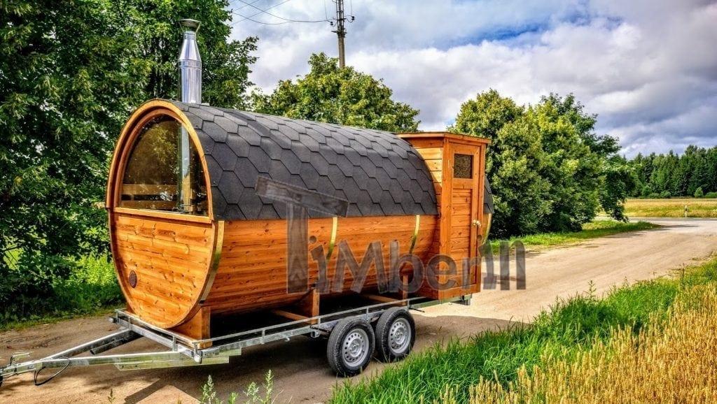 Fasssauna-mobile-mit-Vorraum-und-Holzofen-kaufen Projekte