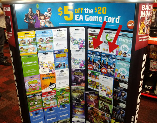 GameStop Display, EA Game Cards