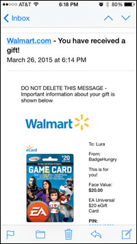 EA Card gift email from Walmart