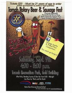 2017 Tomah Rotary Beer & Sausage Fest Flyer