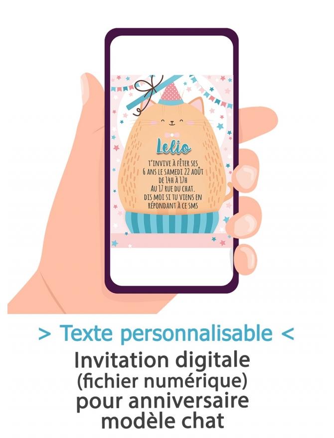 carte d invitation anniversaire digitale chat