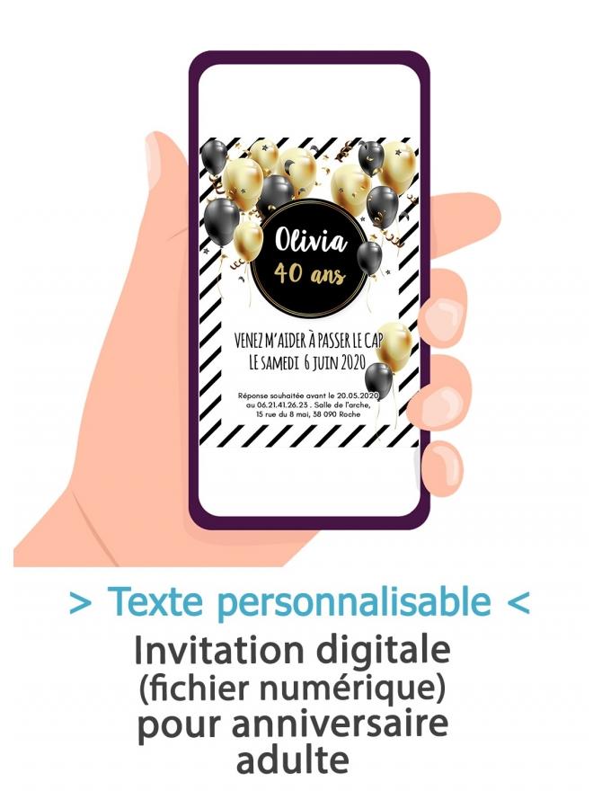 carte d invitation anniversaire digitale adulte ballon