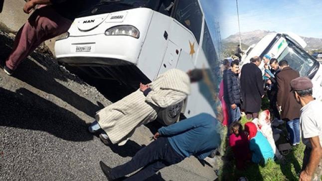انقلاب حافلة لنقل الركاب يخلف 15 جريحا