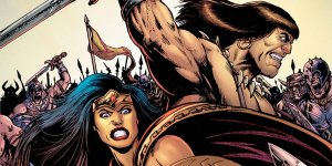 Wonder Woman/Conan #1, copertina di Darick Robertson