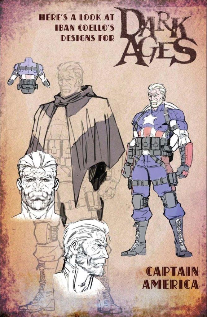 Dark Ages Capitan America, character design di Iban Coello
