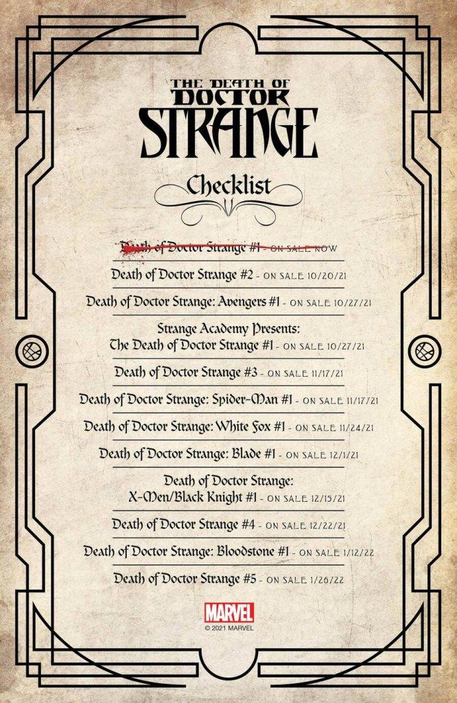 Death of Doctor Strange, check-list
