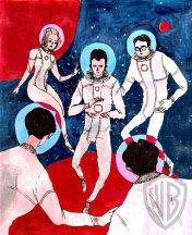 """Space   Boya Sun   11""""H x 8.5""""W   Watercolor, gouache, & ink transfer"""