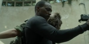 Anthony Mackie outside the wire black panther