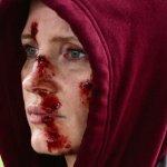 Eve: Jessica Chastain con il volto insanguinato nella prima immagine del film di Tate Taylor
