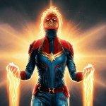 Captain Marvel: Carol sfreccia nello spazio in un poster firmato da Matt Ferguson