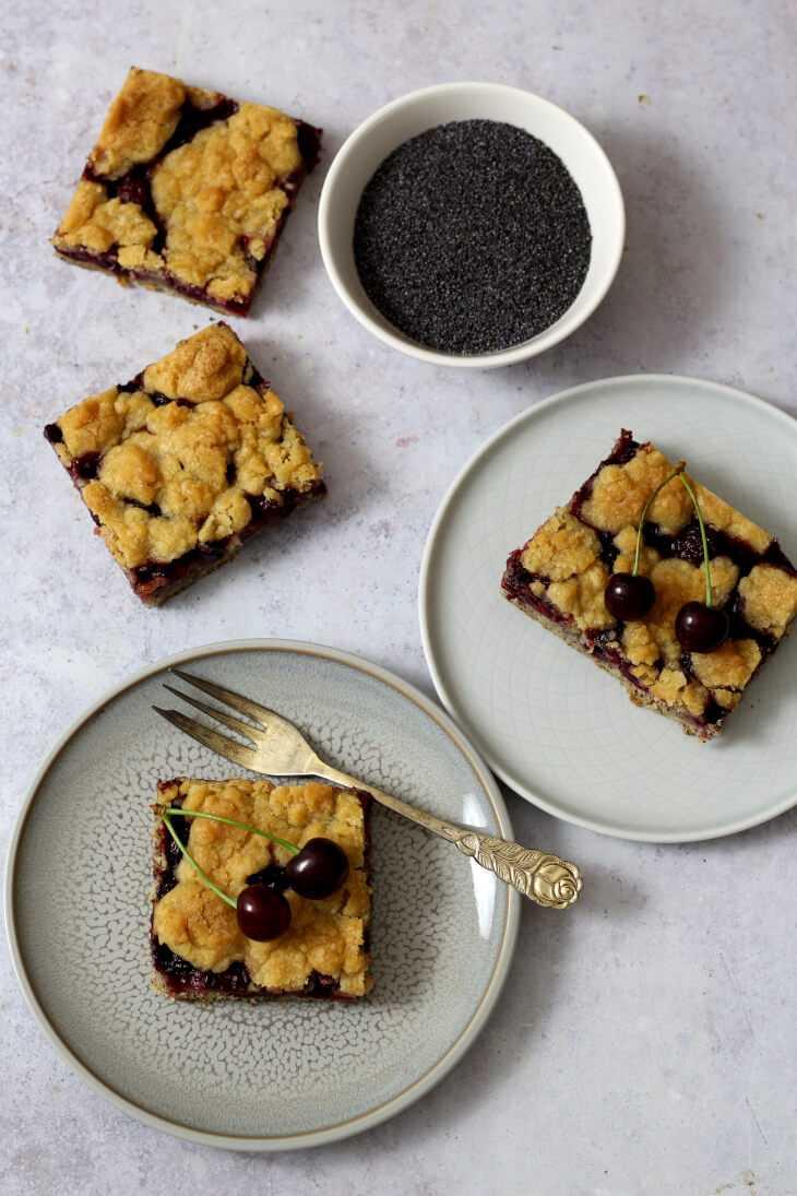 Kirsch Mohn Kuchen mit Streuseln   bäckerina.de