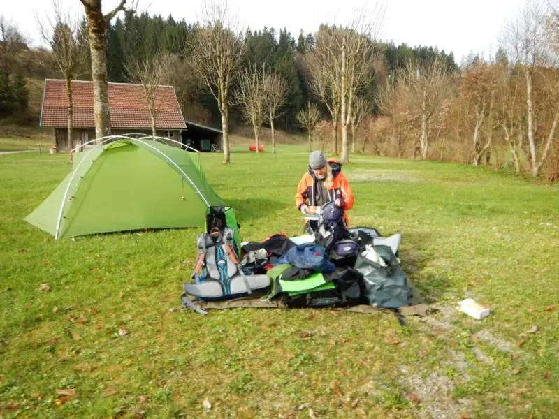 Bodensee Königssee Radweg mit dem Zelt.