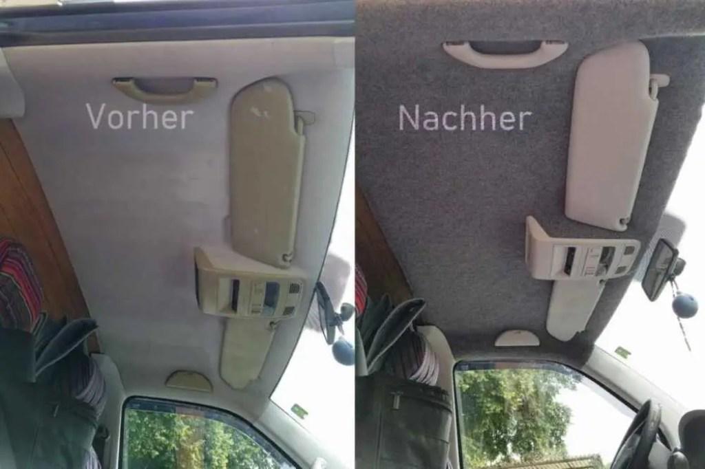 Dachhimmel Filzen im Fahrzeug Bus. Vorher - Nachher