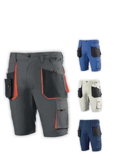 Pantalón corto multibolsillos. Elásticos en cintura. Cierre de cremallera y botón.