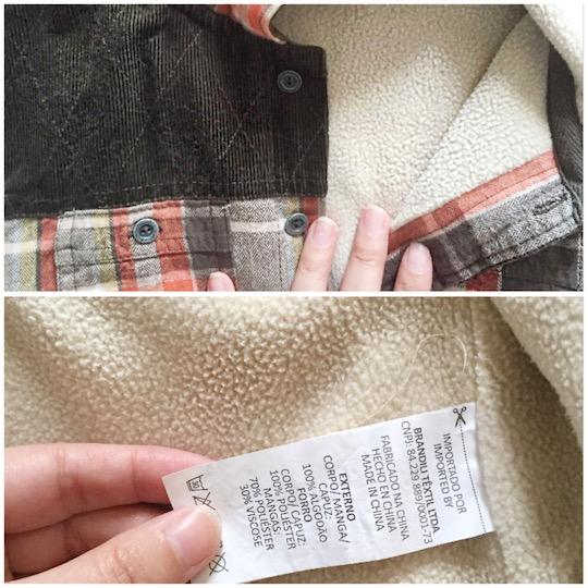 casaco de flanela