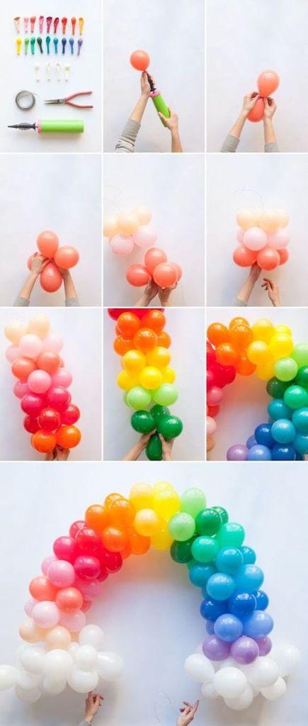arco íris de balões