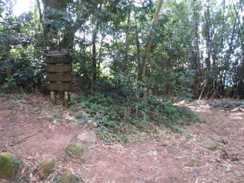 Bifurcação na trilha, com sinalização