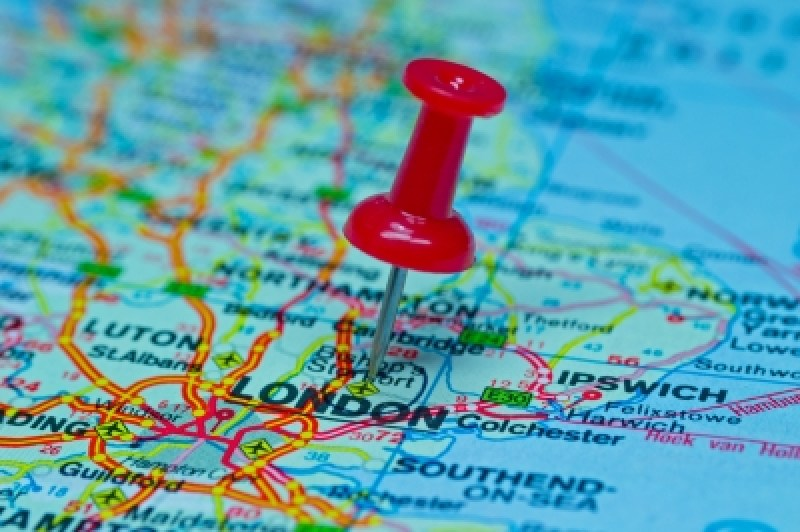 Thumbtack On Map - London Stock Photo