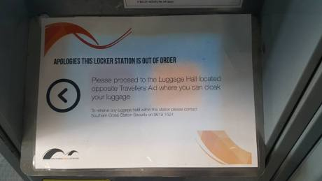 Sign for out of order lockers at Southern Cross Station