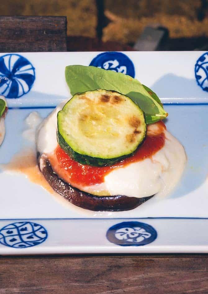 Grillet squash og aubergine med mozzerella