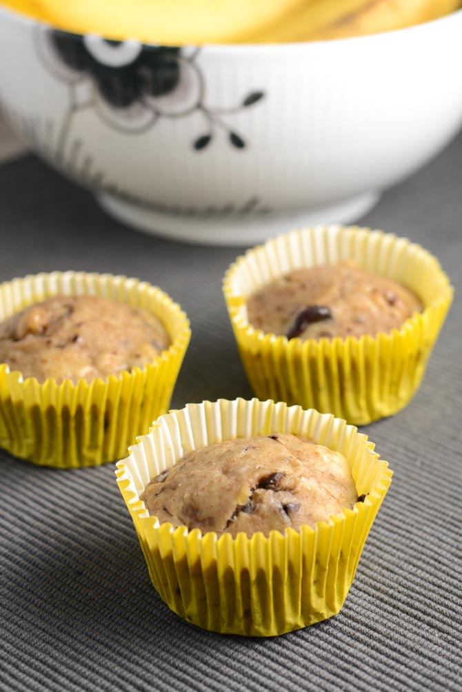 Sukkerfri og fedtfattige bananmuffins