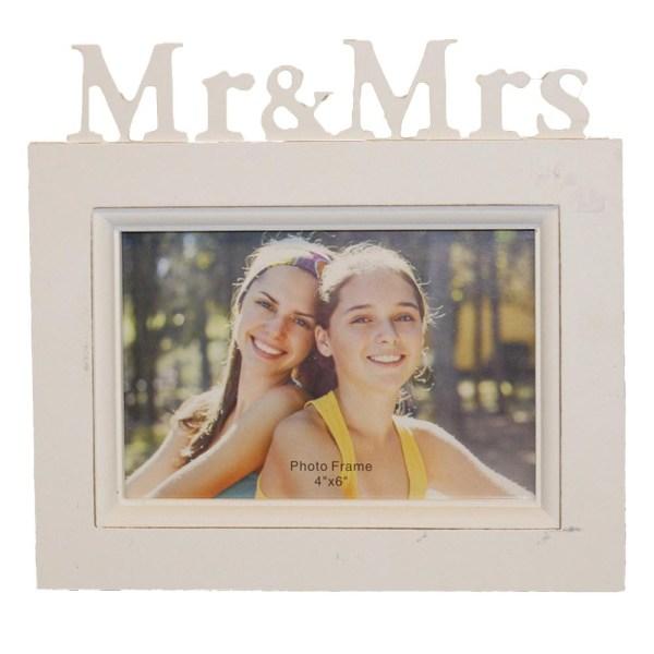 Fotoram Mr & Mrs i shabby chic stil - perfekt bröllopsgåva