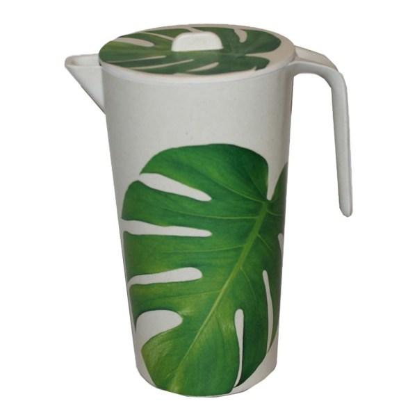Saftbringare kanna i bambu med Monstera motiv