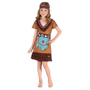 Maskeraddräkt indian flicka m klänning, bälte, pannband strl 116