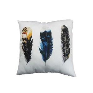 Trendig prydnadskudde 45 x 45 cm vackra fjädrar i tuffa färger