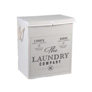 Läcker vit dubbel hopfällbar tvättkorg i shabby chic stil