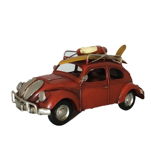 Läcker VW bubbla i retroinspirerad stil, metall prydnad surf röd