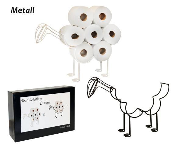 Toarullehållare lamm får golv kombinerad med förvaring -vit