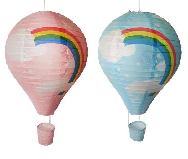 Luftballong dekoration regnbåge blå rislampa barnrum