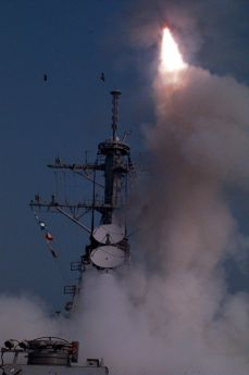 Launch of a U.S. Tomahawk cruise missile against Iraq.