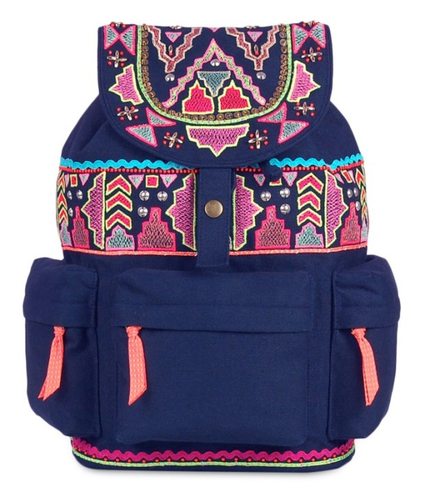 Limeroad Blue Embroidered Backpack
