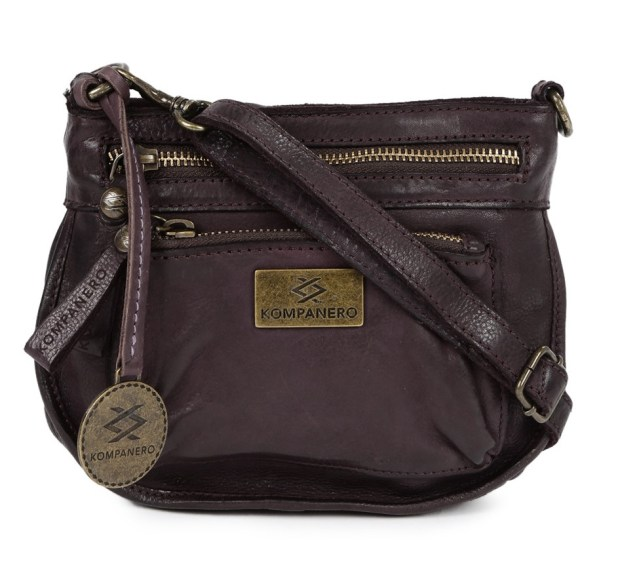 KOMPANERO Purple Leather Textured Sling Bag