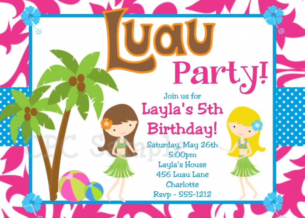 luau birthday party invitation wording